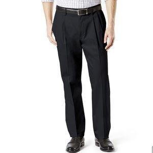 Dockers Black Classic Fit Pleated Khaki Pants